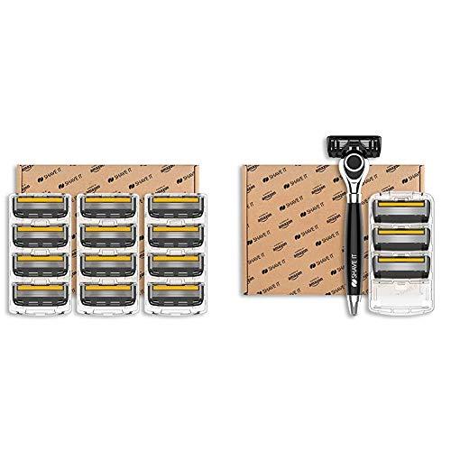 Shave It Pro 5-Blade Razor Head, 12 Blades & Grand 6-Blade Razor with Handle and 4 Blades