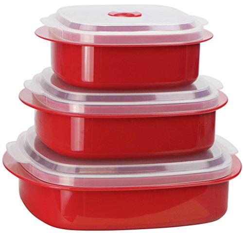 Calypso Basics por Reston Lloyd Utensilios de cocina para microondas, 6 piezas, vaporera y almacenamiento, color negro, Rojo, 1