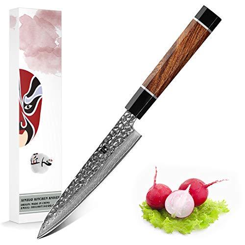 XINZUO Cuchillo Universal Acero de Damasco 15cm Cuchillo para Pelar Afilado Cuchillo...