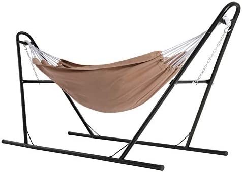 SONGMICS Hammock with Stand 82 7 x 59 1 Inches Sturdy Double Rail Iron Frame with Extended Feet product image