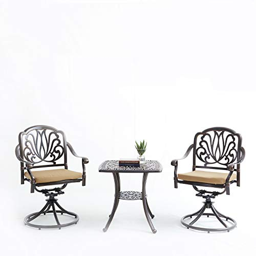 KYEEY 3 Pcs Bistro Set, Outdoor Cast Aluminum Dining Set for Patio or Deck, with Swivel Arm Chair & Cushions