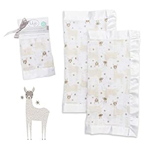 lulujo Baby Security Lovie Blankets  Unisex Softest Breathable Cotton Muslin Security Blanket with Silky Satin Trim  Neutral Comforting Blanket for Girls & Boys   16in by 16 in  Llama