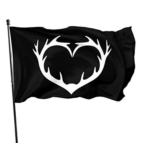 AOOEDM Heart Deer Antler Flag 3x5 Foot Polyester Fly Bleeze 3'X5' Flag