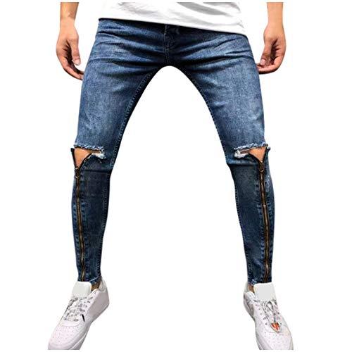 Vectry Pantalones Hombre Moda Jeans Hole Trouser Pantalones Vaqueros Desgastados Pantalones Largos de Lápiz Ropa de Calle Casual Pantalones Trabajo