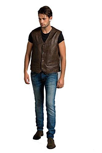 Urban Leather Billy–Chaleco de piel hombre, Ontorio Marrón