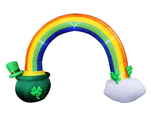 Joiedomi 14ft Long 10 FT Tall St Patrick Inflatable Rainbow Arch with LED Light Build-in Cauldron Pot of Gold Inflatable Yard Garden Decorations, Indoor and Outdoor Theme Party Decor, Lawn Decor