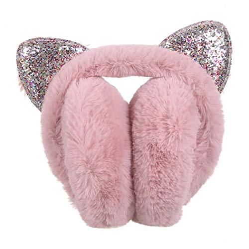 YepYes Oído Lentejuelas Gato Los Auriculares Gato Creativo del oído Forma Espesor Orejeras Felpa Encantadora del Brillo Diadema Tocado de la Manera Accesorio del Pelo del Color de la Nieve Brotes