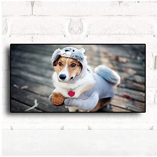 ZNNHERO Divertido Disfraz de Cachorro, Carteles e Impresiones para Perros, Pintura de Animales, Imagen de Pared mnima para Vivir, habitacin de nios, 50x100cmx1 sin Marco