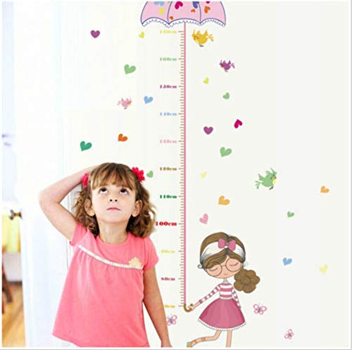 Muur Stikcer Umbrella Girl Height Chart Meten Wall Sticker Kunst Decofolie Kids Room Decor PVC