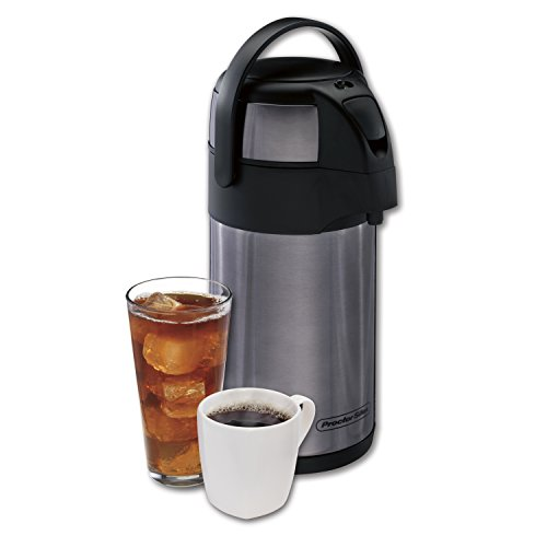 Proctor-Silex Thermal Airpot Hot Coffee/Cold Beverage Dispenser, Vacuum Insulated, Compact and Portable, 2.5 Liter, Stainless Steel
