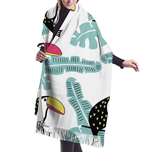 Foulard Scialle Pashmina da Donna Modello carino tucano Invernale Sciarpa Lungo Morbida Calda Stole