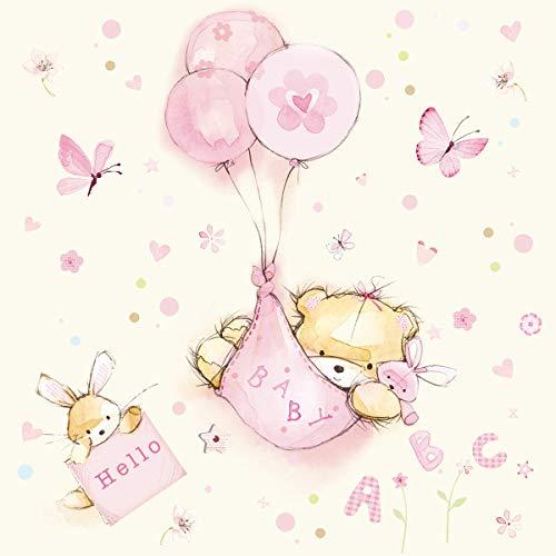 20 servetten knuffelig babydesign meisjes/baby/geboorte/doop 33x33cm
