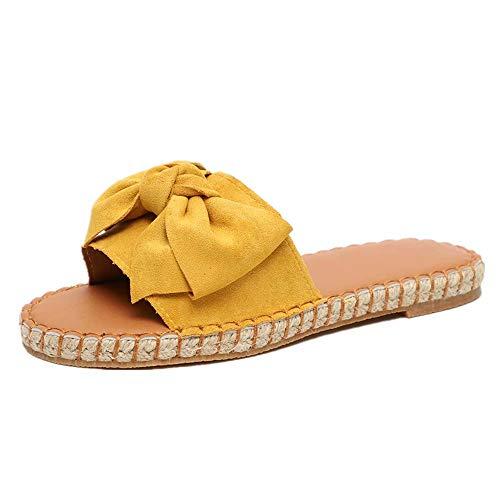 Sandalias Mujer Verano Planas Piel Chanclas Punta Abierta Plataformas Bajo Zapato De Playa Piscina Al Aire Libre Moda Fiesta Bohemias Amarillo 39