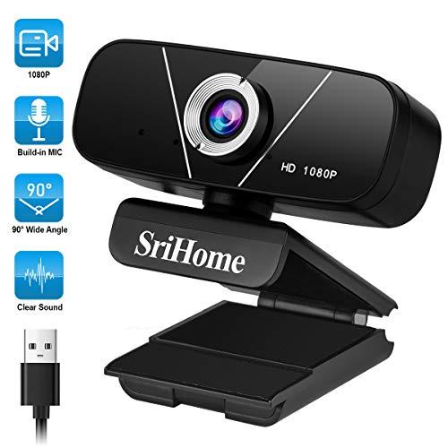 WACCET Full HD Webcam 1080P PC Webcam con Microfono, Plug And Play Streaming Web Camera, USB Webcam per Computer Videochiamate, Conferenza, Registrazione, Compatibile con Skype, Youtube