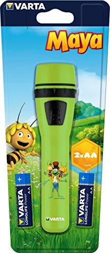 VARTA die Biene Maja Taschenlampe, geeignet für Kinder inkl. 2x Longlife Power AA Batterien, für Kinderzimmer Kindergeburtstag, 5 mm LED