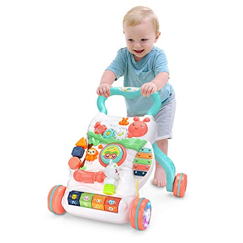 caterbee Sit to Stand Learning Walker,Beginnings Activity Toy Adjustable Speed, Rubber Wheels Push & Pull Toys(Hammer)