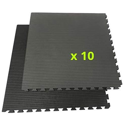 Battler Tatami/mat, stapelbaar, puzzel, 2 cm dik, zwart en grijs, 10 tegels à 1 m2