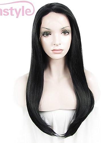 Wigstyle Imstyle 61cm Noir de jais synthétique soyeux droites Lace Front Wigs-n2