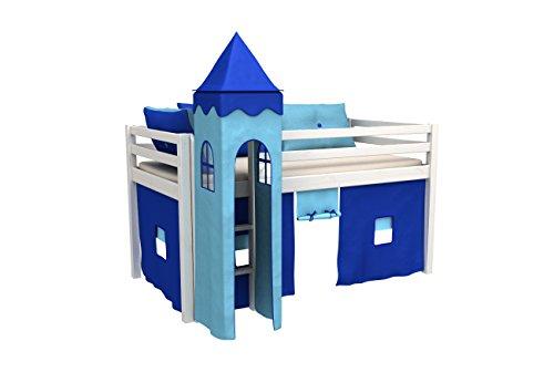 Cama de juego,cama para niños,de alta,cama con torre,cortinas,colchón,somier,muchos colores