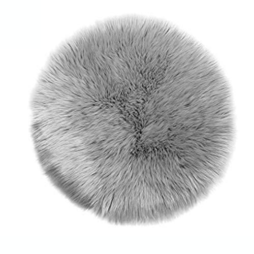 Lammfell-Teppich Kunstfell Schaffell Imitat | Wohnzimmer Schlafzimmer Kinderzimmer | Als Faux Bett-Vorleger oder Matte für Stuhl Sofa (Grau - 45 cm Rund)