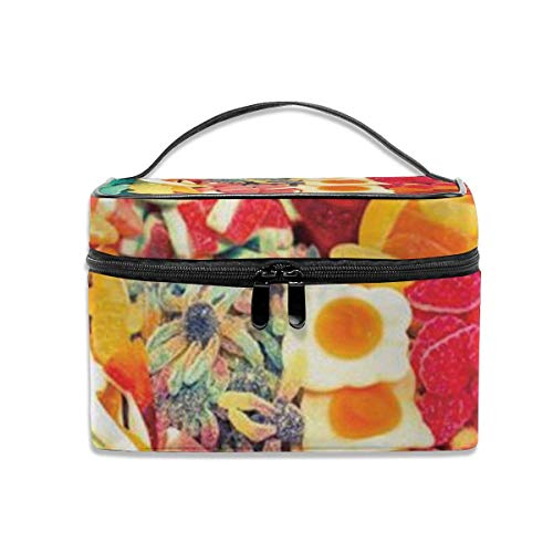 Rainbow Candy Travel Cosmetic Case Organizer Bolsa de Almacenamiento portátil para Artistas con, Bolsillo Incorporado, Estuche Multifuncional Bolsas de Aseo para Mujeres