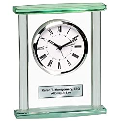 AllGiftFrames Table Desk Shelf Glass Pillar Clock with Silver Engraving Plate. Great Personalized Retirement Gift, Employee Appreciation Award, Service and Corporate Recognition Award