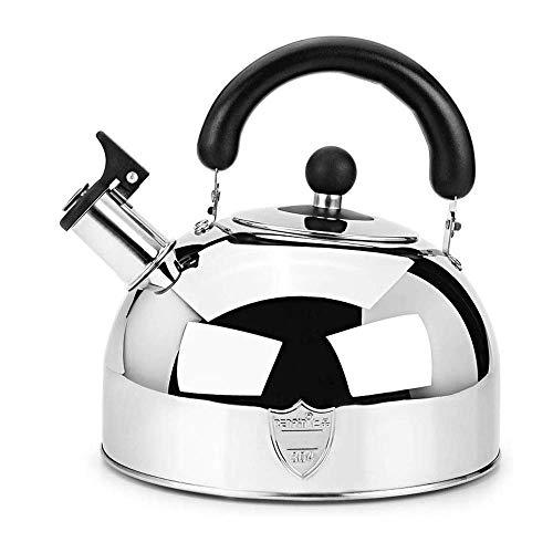 CWC Stove Top Whistling Tea Kettle, Solo Tetera de Acero Inoxidable de Grado culinario con Mango ergonómico Cool Touch y Pico de vertido Recto (tamaño: 6L)