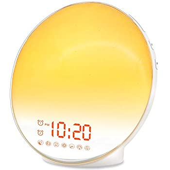 Wake Up Light Sunrise Alarm Clock for Kids Heavy Sleepers Bedroom with Sunrise Simulation Sleep Aid Dual Alarms FM Radio Snooze Nightlight Daylight 7 Colors 7 Natural Sounds Ideal for Gift