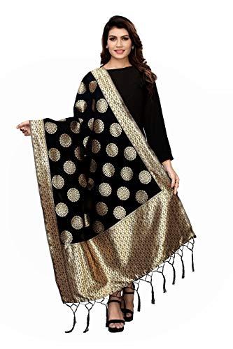 Jaanvi Fashion Indischer Banarasi Dupatta-Halswickel aus gewebter Seide, lang, Stola, Chunni-Quaste, Schal mit Zari Gr. Einheitsgröße, Schwarz
