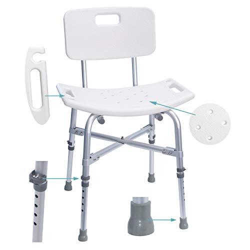 MedX5 (Upgrade 2019) taburete de ducha con respaldo de altura regulable, silla para bañarse, taburete para bañarse, carga máxima: 225 kg con travesaños ADICIONALES 🔥