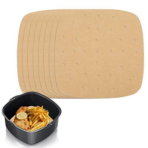 Heyu-Lotus 200 Stück Luftfritteuse Pergamentpapier, 21.8cm Antihaft Perforiertes ungebleichtes Bratpapier für Fritteuse, quadratisches Pergamentpapier für Grill, Koch, Dampf, Fritteuse