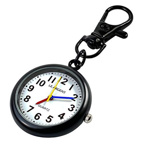LE ARGENT (ル アルジャン) 懐中時計 ナースウォッチ 時計 キーホルダー かいちゅう時計 【日本製クオーツ 日本製電池】 (ブラック)