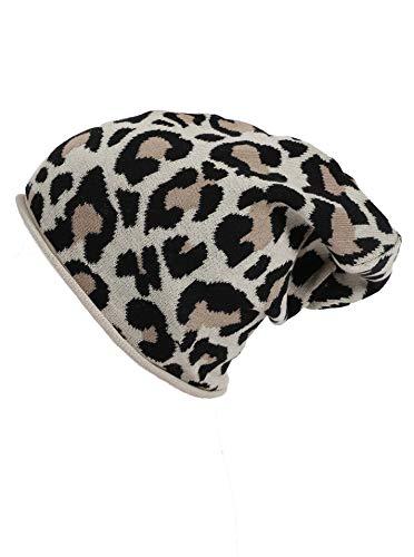 Zwillingsherz Slouch-Beanie-Mütze mit Baumwolle - Hochwertige Strickmütze mit Leo Design für Damen Mädchen Jungen 2020 - Hat - One Size - Frühjahr Sommer Herbst und Winter - beige