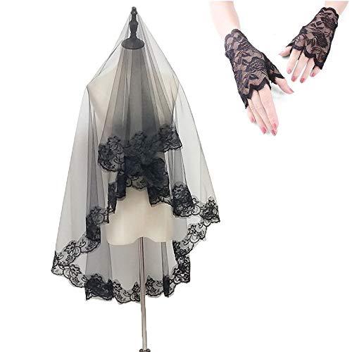 kungfu Mall Accesorios de Disfraces de Halloween, Vestido Negro de Velo para Damas de Boda y Guantes de Encaje sin Dedos para Fiestas de Halloween