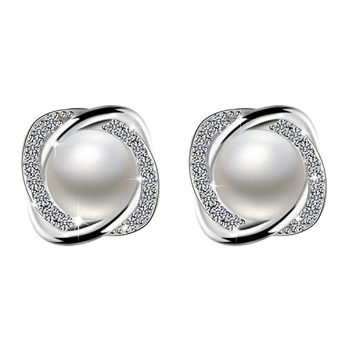 Amilril Pearl Earrings, 925 Sterling Silver Cubic Zirconia Fine Jewellery Elegant Gift Box