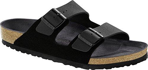 BIRKENSTOCK Arizona Asphalt Damen Sandaletten,Frauen Sandalen,Sommerschuh,Orig Fußbett,bequem, 2 Riemchen,Black,EU 35