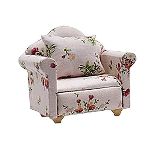 perfeclan Sofá Moderno De Casa De Muñecas En Miniatura - Sofá para Muebles De Casa De Muñecas - Decoración De Accesorios De Casa A Escala 1/12 - Sillón Floral