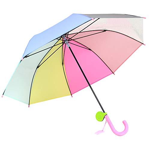 子供傘 53cm キッズ傘 女の子 男の子 手開き 長傘 リフレクター付き レインボー 虹色 にじいろ (パステル)