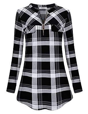 Diphi LiLi Womens Casual Long/Short Sleeve Tartan Blouse Zip up Plaid Tunic Shirt