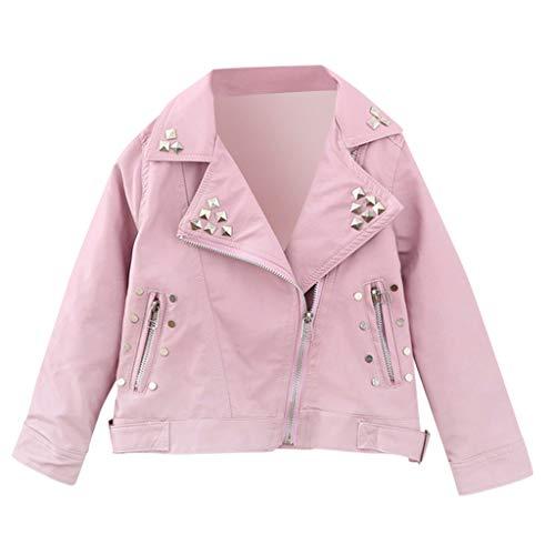 Mousmile Toddler Baby Girls Shiny Rivet Leather Jacket Lapel Zipper Motorcycle Coat Metal Bomber Winter Warm Outwear (4-5 Years, Pink)