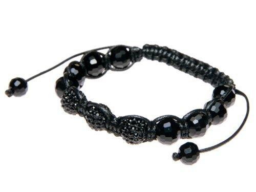 Andante-Stones Elegante SHAMBALA bracciale regolabile 16-22 cm color nero con perle Pavé nere + sacchetto di organza