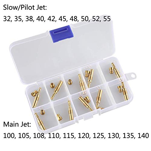Supermotorparts 10Pcs Carburetor Main Jets kit & 10Pcs Slow Pilot Jets for PWK Keihin OKO CVK PWM