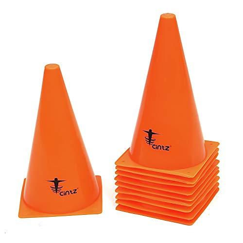 Cintz 9' Field Traffic Parking Cones Speed Agility Fitness Training Workout Heavy Duty Set of 10 (Bright Orange)
