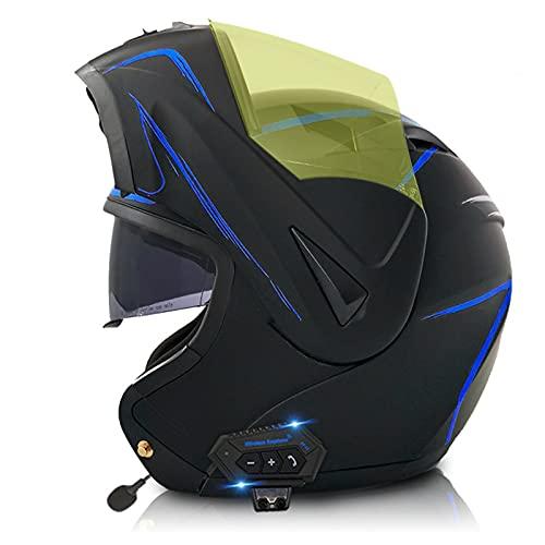 LIRONGXILY Casco Moto Modular Casco Moto Modular con Bluetooth Integrado Casco Moto Mujer Casco Integral con Pantalla y Visera para Hombre ECE Homologado (Color : H, Size : 57-58(M))