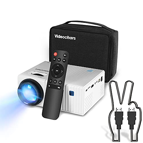 Native 1080P Projector,Compact Projector 1080P Video Projector Moive Night Mini Projector Portable with 80,000 Hrs LED Lamp Life,Compatible with TV Stick, PS4, HDMI, TF, AV and USB