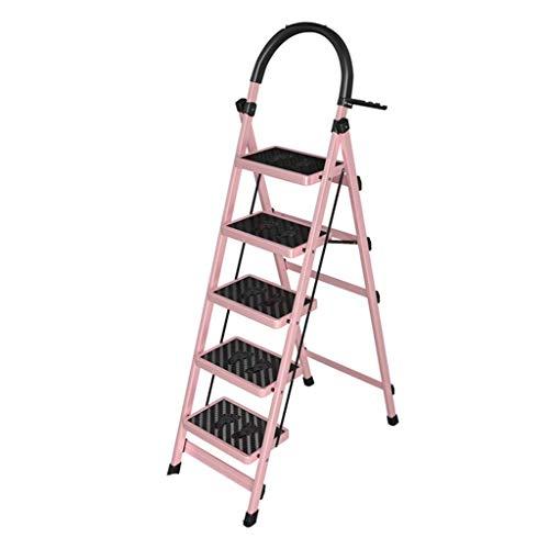 qx Escaleras de Mano Escaleras, Peldaños Plegables Escalera Telescópica, Escalera Interior de Cinco Peldaños Escalera Plegable de Cuatro Peldaños de Metal Escalera Portátil de Alén para Hoteles Escal