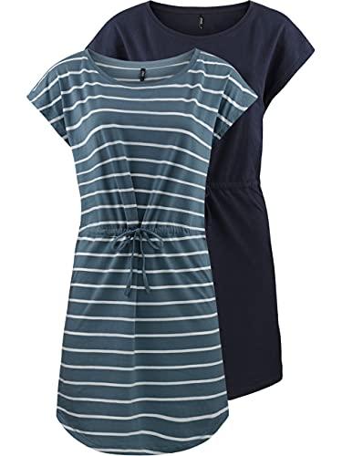 ONLY Damen Sommer Mini Kleid onlMAY S/S Dress 2er Pack Grösse XS S M L XL XXL Gestreift Schwarz 100% Baumwolle, Größe:L, Farbe:Blue Mirage...