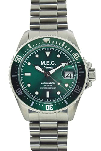 Reloj de hombre automático sumergible de acero militar esfera Hulk verde Made in Italy