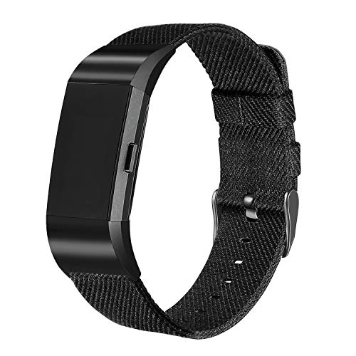 bayite Canvas Bands Compatible with Fitbit Charge 2, Soft Classic Replacement Wristband Straps Women Men, Black with Black Connector Large (6.7-8.1 Inch)