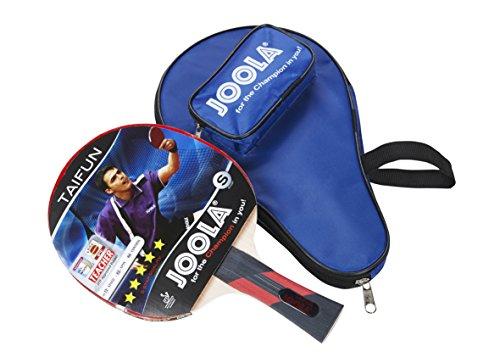 JOOLA Tischtennis-Set Taifun Bestehend aus 1 Tischtennisschläger + 1 Tischtennishülle, Blau/Rot, 2,0 MM Schwamm